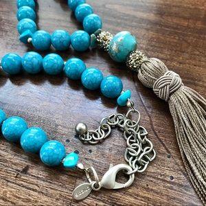 Chico's Turquoise & Tassle Necklace